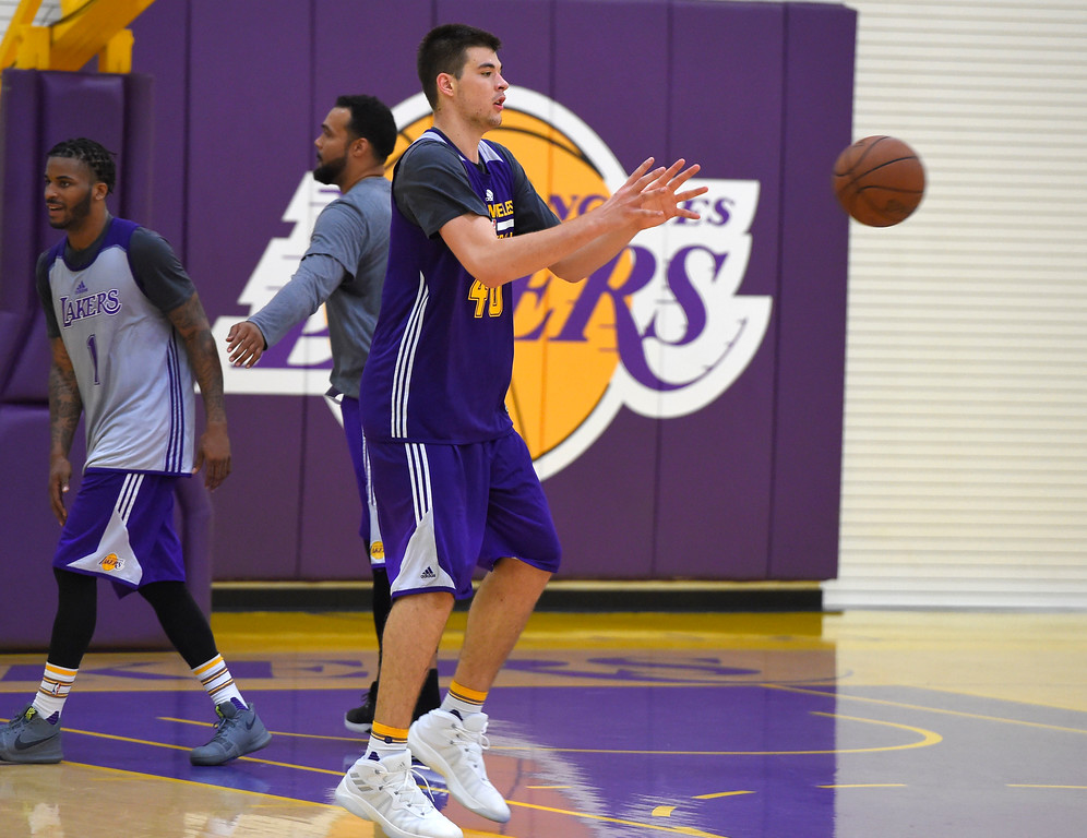 . Lakers\' Ivica Zubac practices with the team in El Segundo on Wednesday, July 5, 2017. The newest Lakers players are getting ready for Summer League games starting Friday in Las Vegas. (Photo by Scott Varley, Daily Breeze/SCNG)