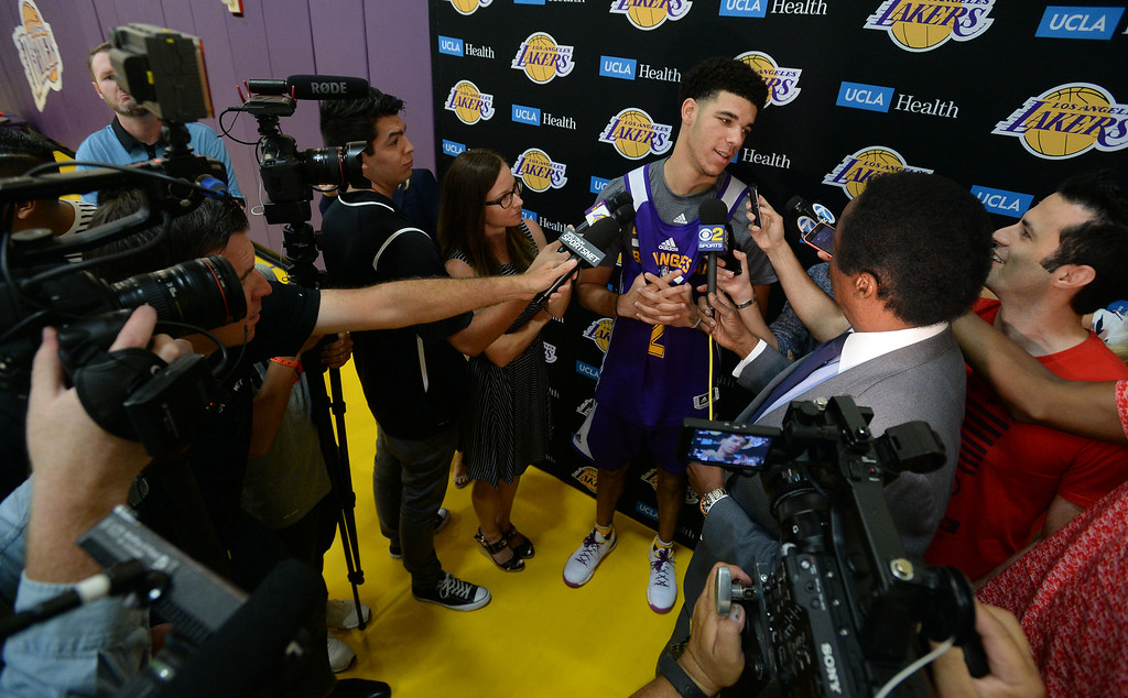 . Lakers #2 draft pick Lonzo Ball talks about the upcoming NBA Summer League after practice in El Segundo on Wednesday, July 5, 2017. The newest Lakers players are getting ready for Summer League games starting Friday in Las Vegas. (Photo by Scott Varley, Daily Breeze/SCNG)