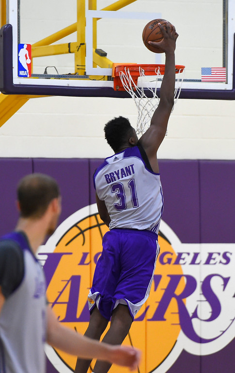 . Lakers\' rookie Thomas Bryant practices with the team in El Segundo on Wednesday, July 5, 2017. The newest Lakers players are getting ready for Summer League games starting Friday in Las Vegas. (Photo by Scott Varley, Daily Breeze/SCNG)