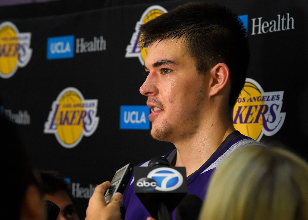. Lakers\'s Ivica Zubac talks about the upcoming Summer League after practice in El Segundo on Wednesday, July 5, 2017. The newest Lakers players are getting ready for Summer League games starting Friday in Las Vegas. (Photo by Scott Varley, Daily Breeze/SCNG)
