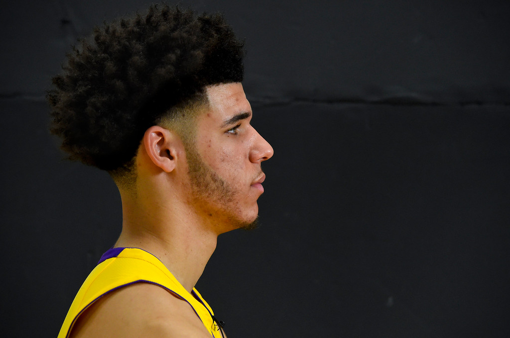 . Lakers top draft pick Lonzo Ball at the Lakers media day event at their new training facility in El Segundo on Monday, September 25, 2017. (Photo by Scott Varley, Daily Breeze/SCNG)