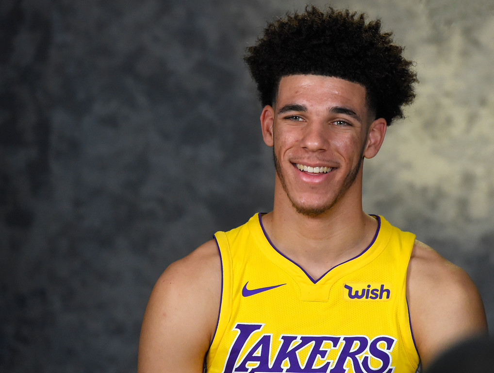 . Lonzo Ball conducts an interview at the Lakers media day event at their new training facility in El Segundo on Monday, September 25, 2017. (Photo by Scott Varley, Daily Breeze/SCNG)