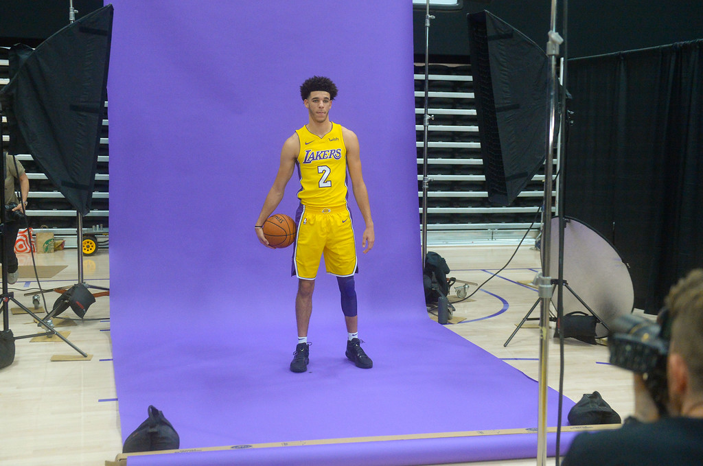 . Lakers top draft pick Lonzo Ball poses for photos  at the Lakers media day event at their new training facility in El Segundo on Monday, September 25, 2017. (Photo by Scott Varley, Daily Breeze/SCNG)