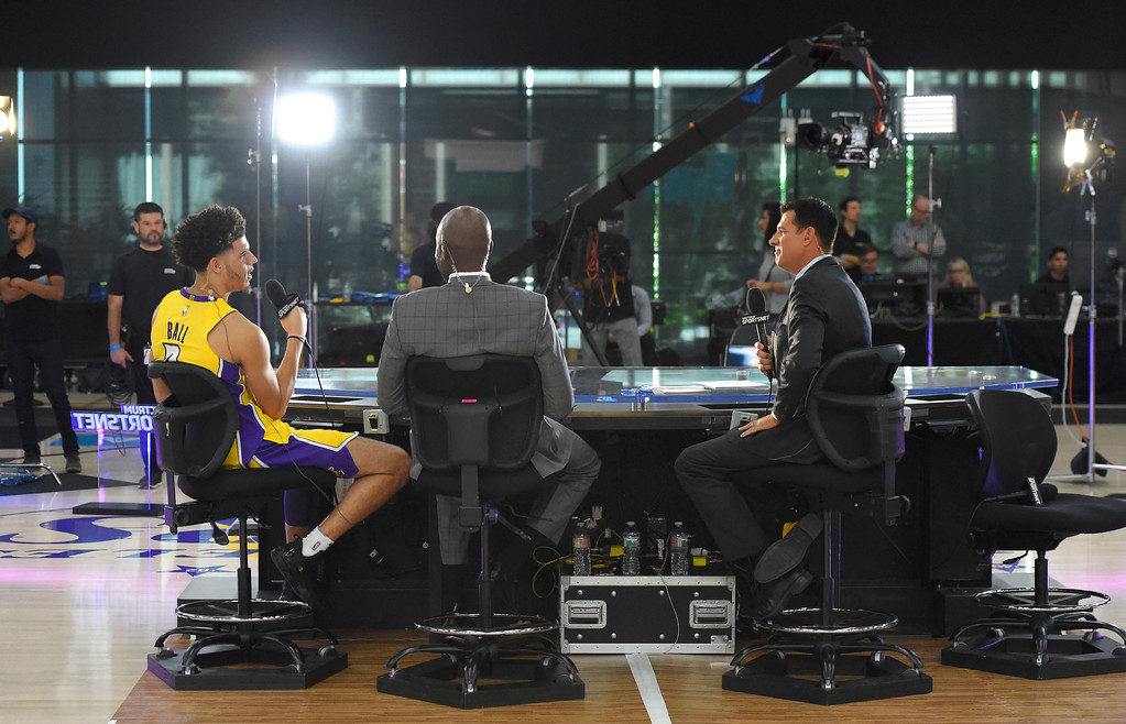 . Lonzo Ball, left, is interviewed by James Worthy, center, and Chris McGee during the Lakers media day event at their new training facility in El Segundo on Monday, September 25, 2017. (Photo by Scott Varley, Daily Breeze/SCNG)