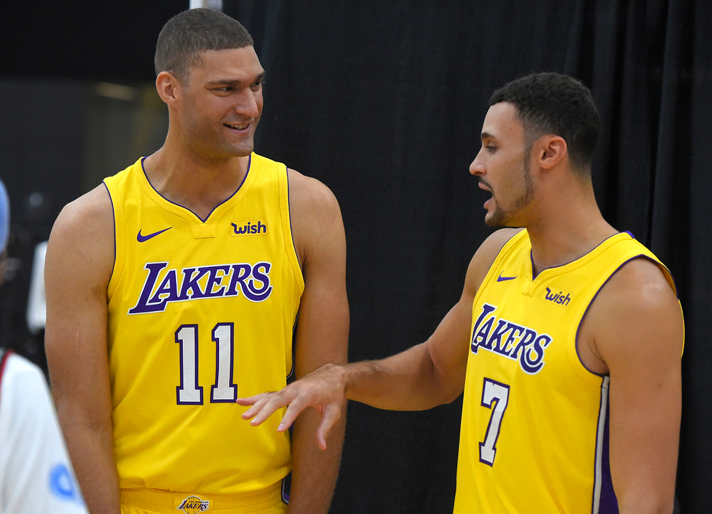 . Brook Lopez, left, and Larry Nance, Jr. have a chat as they wait to be photographed at the Lakers media day event at their new training facility in El Segundo on Monday, September 25, 2017. (Photo by Scott Varley, Daily Breeze/SCNG)