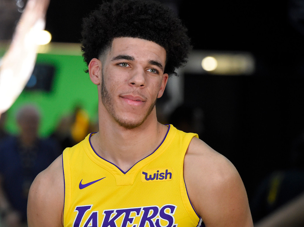. Lonzo Ball is interviewed at the Lakers media day event at their new training facility in El Segundo on Monday, September 25, 2017. (Photo by Scott Varley, Daily Breeze/SCNG)