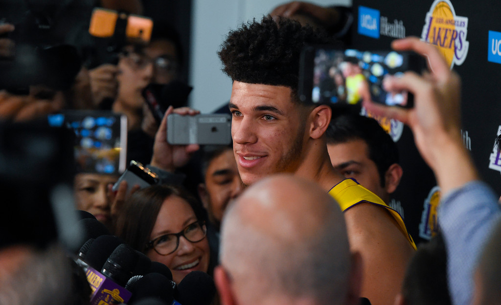 . Lakers top draft pick Lonzo Ball answers questions during the Lakers media day event at their new training facility in El Segundo on Monday, September 25, 2017. (Photo by Scott Varley, Daily Breeze/SCNG)
