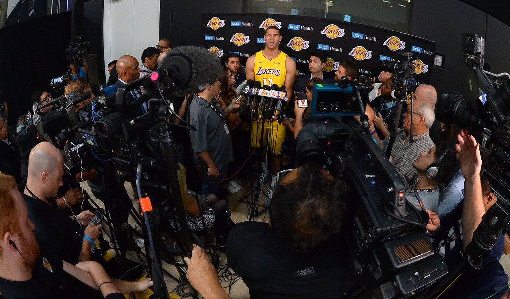 . Lakers center Brook Lopez talks to the media during the Lakers media day event at their new training facility in El Segundo on Monday, September 25, 2017. (Photo by Scott Varley, Daily Breeze/SCNG)