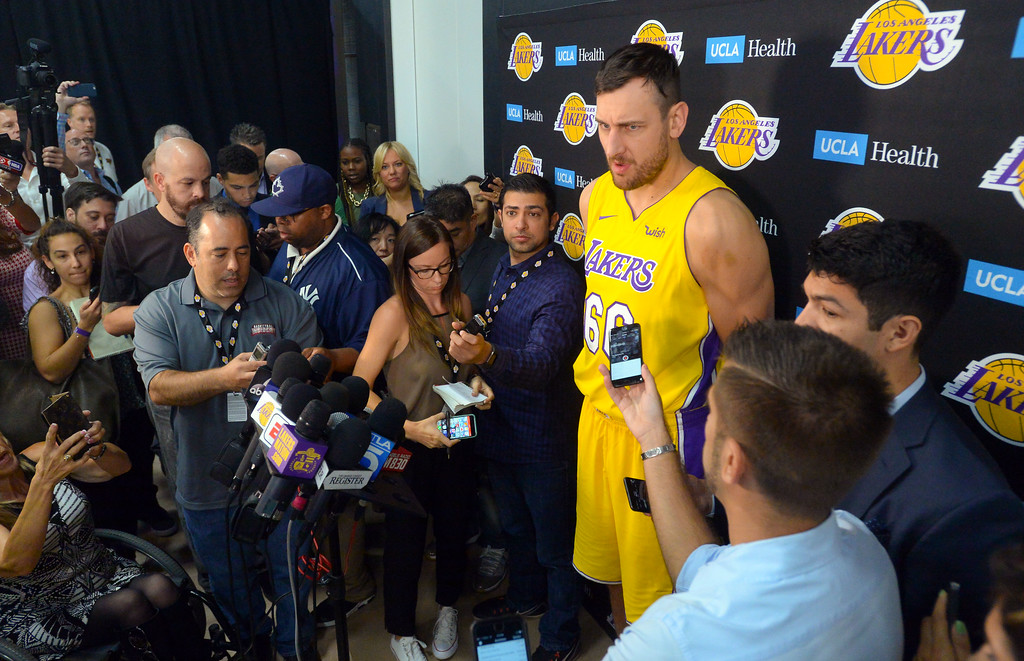 . Andrew Bogut talks about being signed as the newest Laker during the Lakers media day event at their new training facility in El Segundo on Monday, September 25, 2017. (Photo by Scott Varley, Daily Breeze/SCNG)
