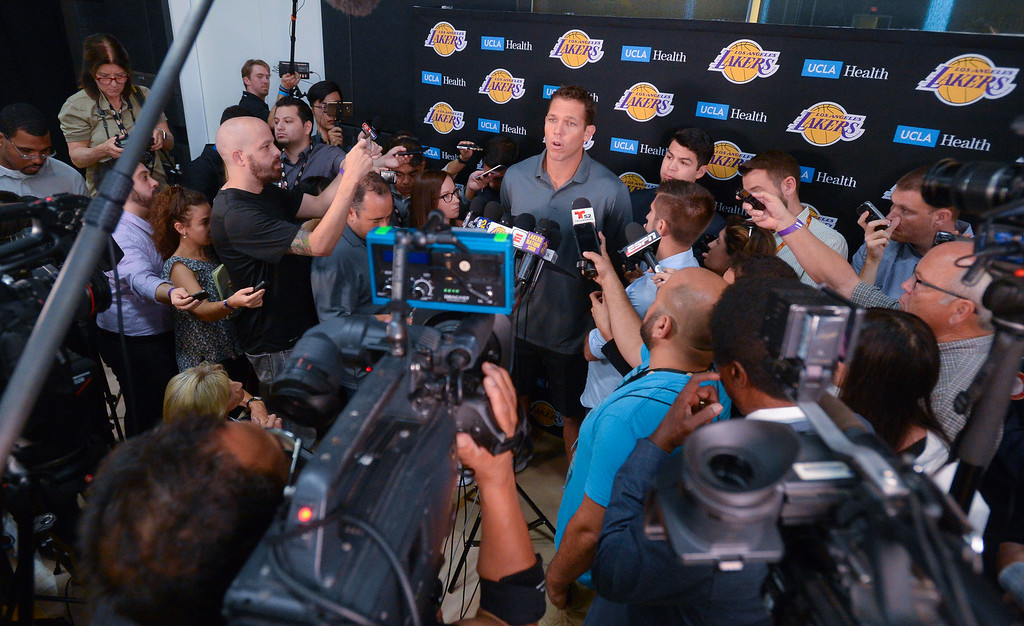 . Lakers coach Luke Walton answers questions during the Lakers media day event at their new training facility in El Segundo on Monday, September 25, 2017. (Photo by Scott Varley, Daily Breeze/SCNG)