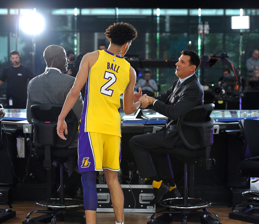 . Lonzo Ball greets Chris McGee, right, and James Worthy during the Lakers media day event at their new training facility in El Segundo on Monday, September 25, 2017. (Photo by Scott Varley, Daily Breeze/SCNG)