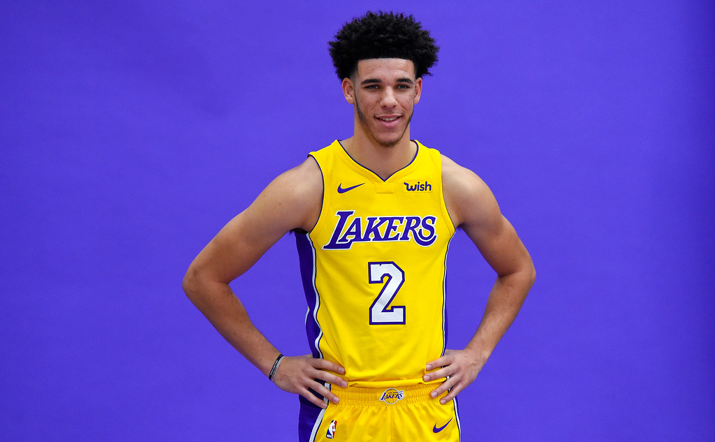 . Lonzo Ball poses for photos at the Lakers media day event at their new training facility in El Segundo on Monday, September 25, 2017. (Photo by Scott Varley, Daily Breeze/SCNG)