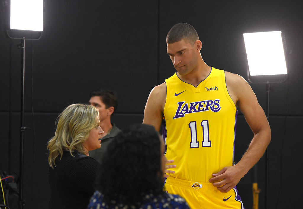 . Brook Lopez during the Lakers media day event at their new training facility in El Segundo on Monday, September 25, 2017. (Photo by Scott Varley, Daily Breeze/SCNG)