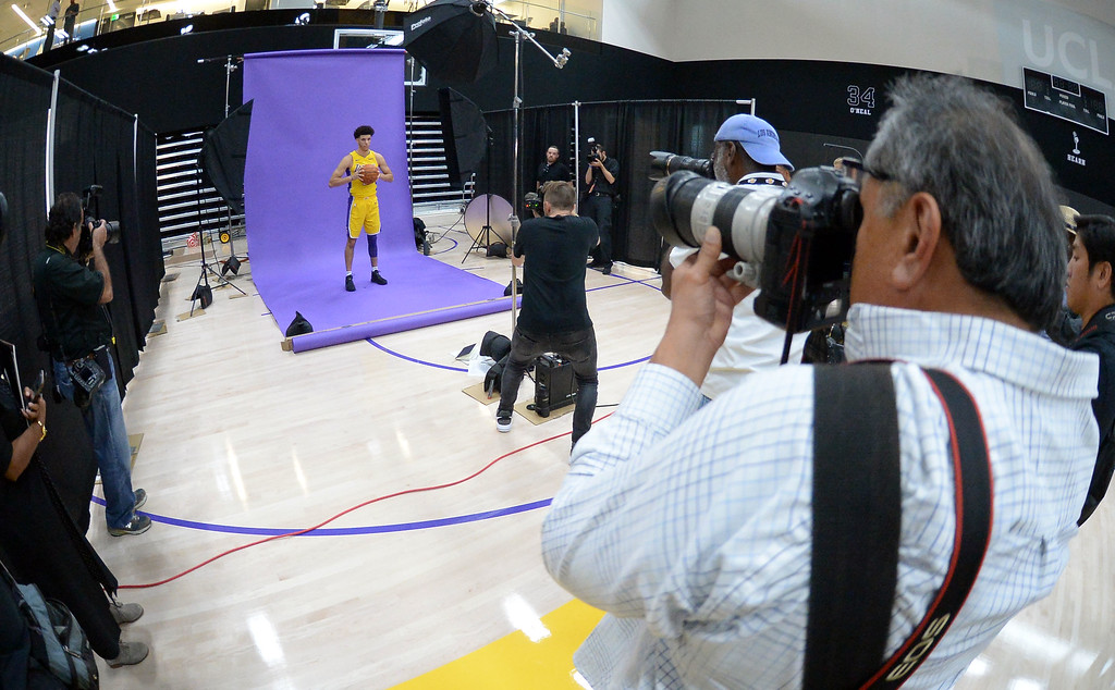 . Photographers capute Lakers top draft pick Lonzo Ball during the Lakers media day event at their new training facility in El Segundo on Monday, September 25, 2017. (Photo by Scott Varley, Daily Breeze/SCNG)
