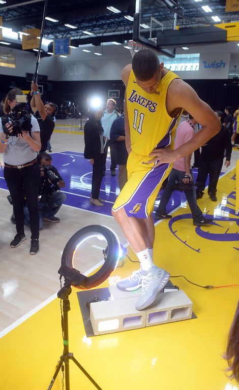 . Brook Lopez has his sneakers photographed at the Lakers media day event at their new training facility in El Segundo on Monday, September 25, 2017. (Photo by Scott Varley, Daily Breeze/SCNG)