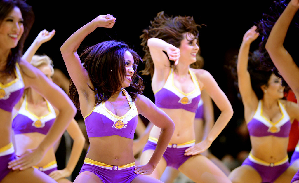 . Los Angeles Laker girls entertain as the Lakers host the Utah Jazz in the NBA preseason basketball game at Staples Center in Los Angeles, CA. on Tuesday, October 22, 2013. (Photo by Sean Hiller/Daily News)