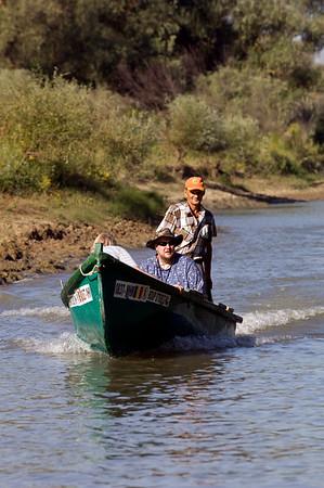 Boat traffic on Bratul Sfantu Gheorghe, The Danube Delta, Dobrogea, Romania
