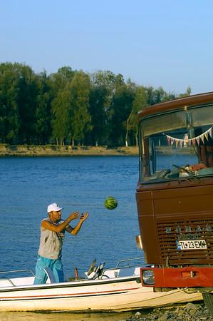 Man delivers watermelons by boat across Bratul Sfantu Gheorghe, Mahmudia, The Danube Delta, Dobrogea, Romania