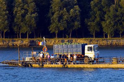 Ferry crossing across Bratul Sfantu Gheorghe, Mahmudia, The Danube Delta, Dobrogea, Romania