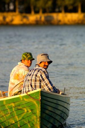 Two local men in a boat, Mahmudia, The Danube Delta, Dobrogea, Romania