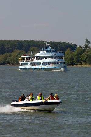 River traffic on the Danube River, The Danube Delta, Dobrogea, Romania
