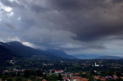 Stormy clouds over Bran village, Transylvania, Romania
