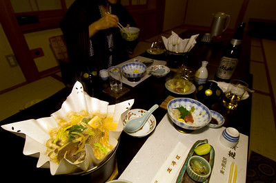 Traditional Japanese style dinner is served in Ryokan ( traditional Japanese style inn ), Matsumoto, Japan