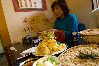 Japanese ladies are having lunch in Sobaya restaurant/bar; soba, udon and tempura, sake and beer are served, Matsumoto, Japan