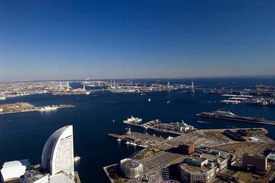 View of Minato Mirai from Landmark Tower, Yokohama, Japan