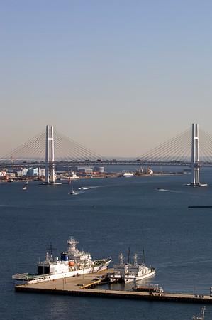 View from a hotel window towards Bay Bridge, Minato mirai, Yokohama, Japan