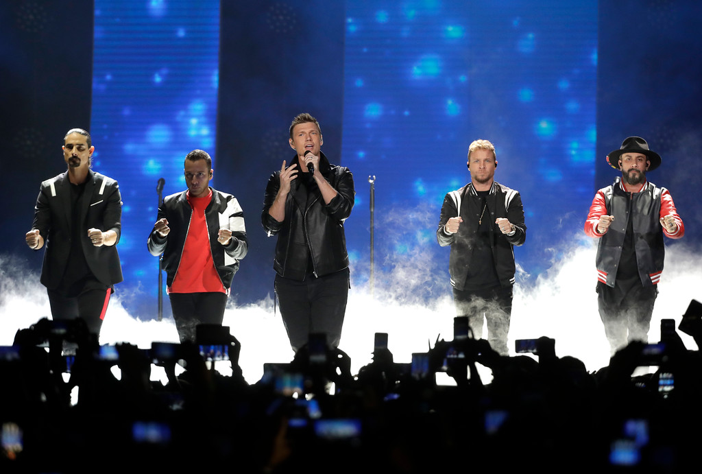 ". Kevin Richardson, Howie Dorough, Nick Carter, Brian Littrell, and AJ McLean of Backstreet Boys, perform ""Don\'t go Breaking My Heart\"" at the CMT Music Awards at the Bridgestone Arena on Wednesday, June 6, 2018, in Nashville, Tenn. (AP Photo/Mark Humphrey)"
