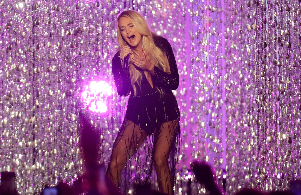 ". Carrie Underwood performs "" Cry Pretty\"" at the CMT Music Awards at the Bridgestone Arena on Wednesday, June 6, 2018, in Nashville, Tenn. (AP Photo/Mark Humphrey)"