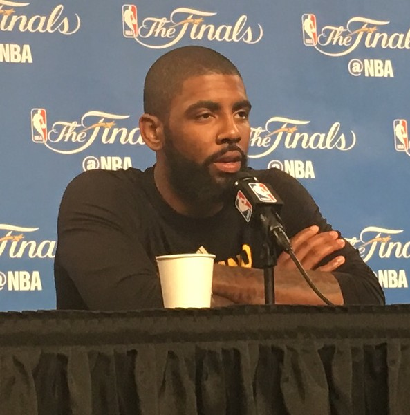 . Cavs point guard Kyrie Irving meets the media after practice