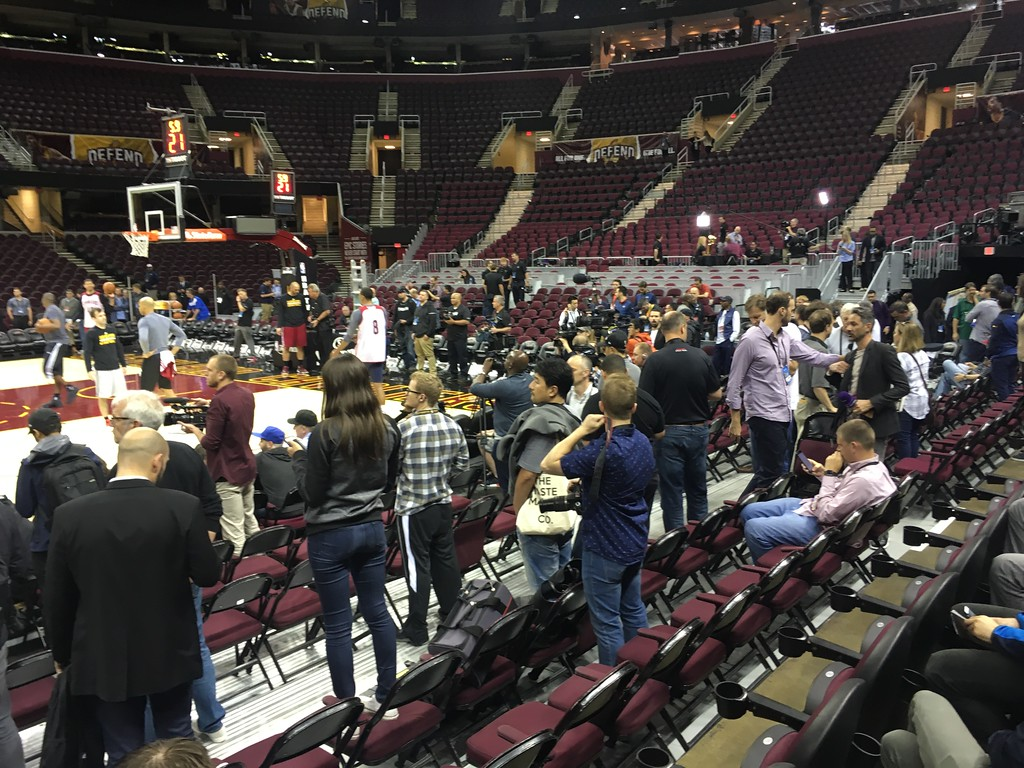 . Media types watching Cavs practice at The Q
