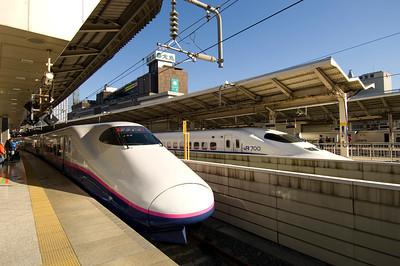 Shinkansen train at Tokyo railway statio, Tokyo, Japan