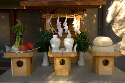 Kagurazaka District; shrine decorated for New Year's celebrations, festivities