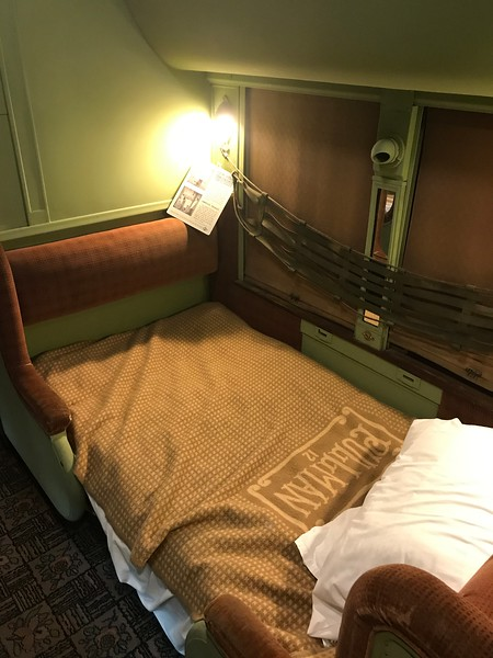 Two seats became one bed. This train is open to tour at The National Railroad Museum. (Harley Marsh - The News-Herald)