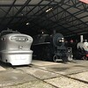 Three locomotives are on display in a barn outside The National Railroad Museum. (Harley Marsh - The News-Herald)