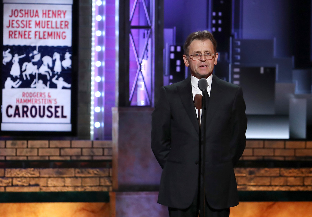 ". Mikhail Baryshnikov presents a performance by the cast of ""Carousel\"" at the 72nd annual Tony Awards at Radio City Music Hall on Sunday, June 10, 2018, in New York. (Photo by Michael Zorn/Invision/AP)"