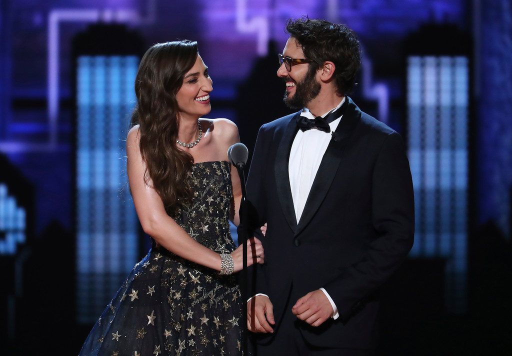 . Co-hosts Sara Bareilles, left, and Josh Groban, speak on stage at the 72nd annual Tony Awards at Radio City Music Hall on Sunday, June 10, 2018, in New York. (Photo by Michael Zorn/Invision/AP)