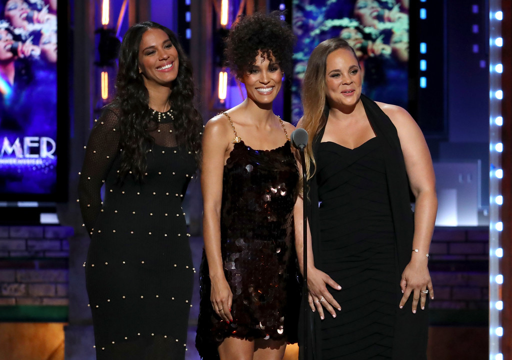 ". Amanda Sudano, from left, Brooklyn Sudano and Mimi Sommer introduce a performance by the cast of ""Summer: The Donna Summer Musical\"" at the 72nd annual Tony Awards at Radio City Music Hall on Sunday, June 10, 2018, in New York. (Photo by Michael Zorn/Invision/AP)"