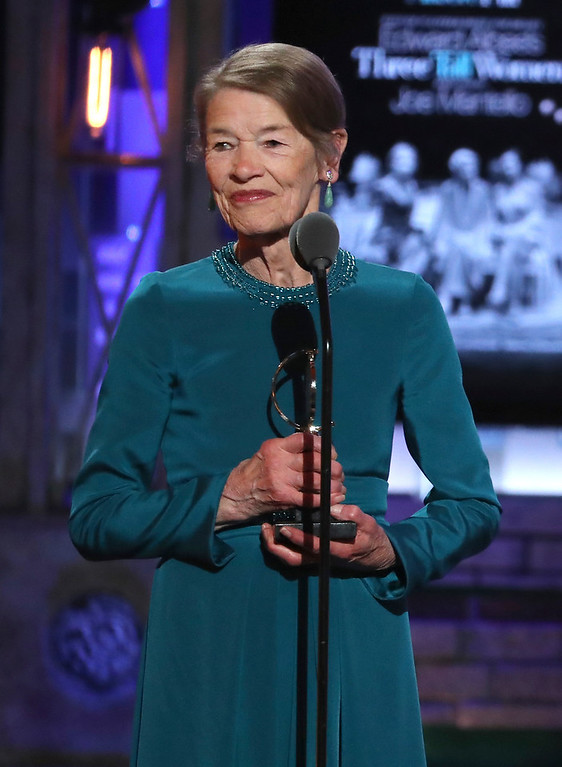 ". Glenda Jackson accepts the award for leading actress in a play for ""Edward Albee\'s Three Tall Women\"" at the 72nd annual Tony Awards at Radio City Music Hall on Sunday, June 10, 2018, in New York. (Photo by Michael Zorn/Invision/AP)"