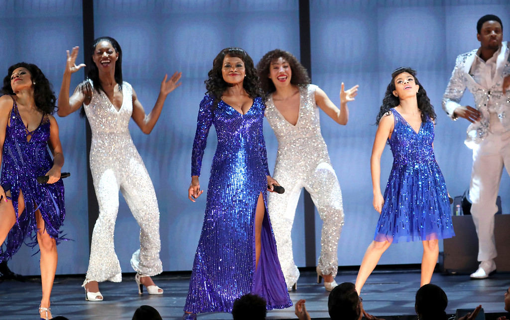 ". The cast of ""Summer: The Donna Summer Musical\"" perform at the 72nd annual Tony Awards at Radio City Music Hall on Sunday, June 10, 2018, in New York. (Photo by Michael Zorn/Invision/AP)"
