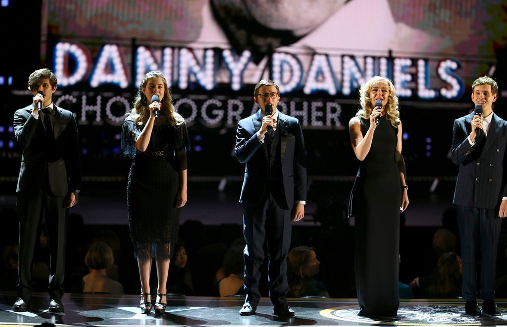 ". The cast of ""Dear Evan Hansen\"" performs \""You Will Be Found\"" during an In Memoriam tribute at the 72nd annual Tony Awards at Radio City Music Hall on Sunday, June 10, 2018, in New York. (Photo by Michael Zorn/Invision/AP)"