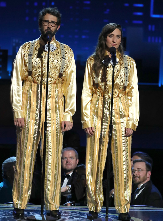 ". Co-hosts Josh Groban, left, and Sara Bareilles, perform Sia\'s ""Chandelier\"" at the 72nd annual Tony Awards at Radio City Music Hall on Sunday, June 10, 2018, in New York. (Photo by Michael Zorn/Invision/AP)"