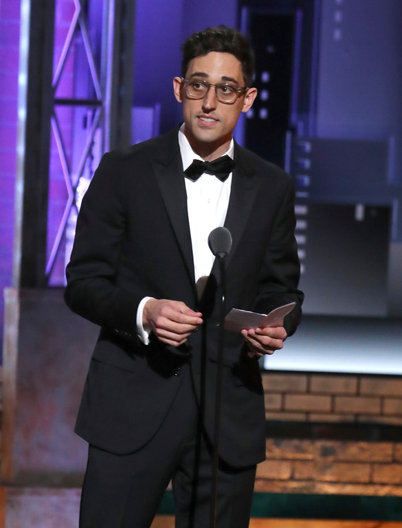 ". Justin Peck accepts the award for best choreography for ""Rodgers & Hammerstein\'s Carousel\"" at the 72nd annual Tony Awards at Radio City Music Hall on Sunday, June 10, 2018, in New York. (Photo by Michael Zorn/Invision/AP)"