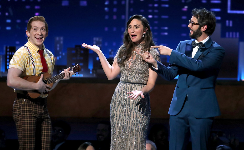 ". Ethan Slater, left, of ""SpongeBob SquarePants:The Musical\"" performs at the 72nd annual Tony Awards at Radio City Music Hall on Sunday, June 10, 2018, in New York. Looking on from right are co-hosts Josh Groban, and Sara Bareilles. (Photo by Michael Zorn/Invision/AP)"