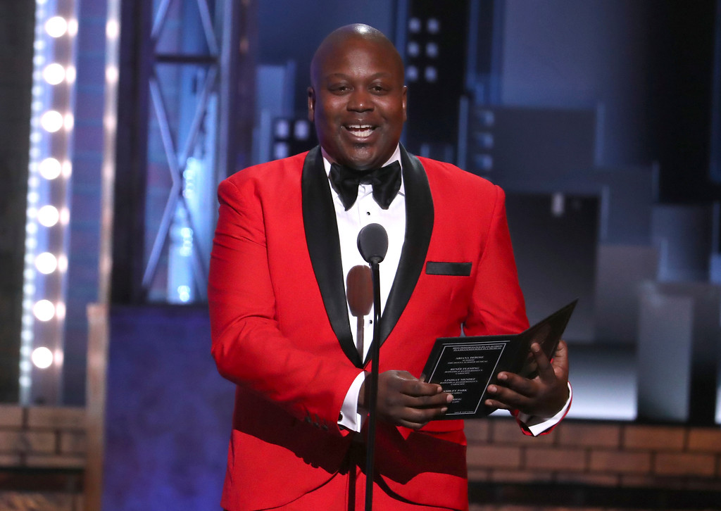 . Tituss Burgess presents the award for featured actress in a musical at the 72nd annual Tony Awards at Radio City Music Hall on Sunday, June 10, 2018, in New York. (Photo by Michael Zorn/Invision/AP)