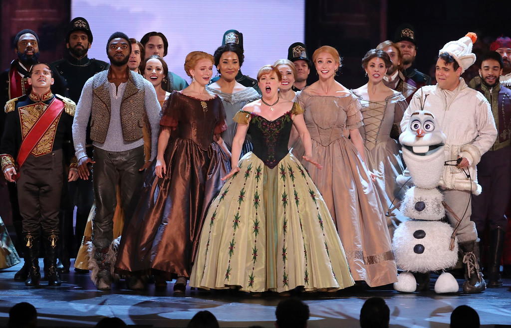 ". The cast of ""Frozen\"" performs at the 72nd annual Tony Awards at Radio City Music Hall on Sunday, June 10, 2018, in New York. (Photo by Michael Zorn/Invision/AP)"