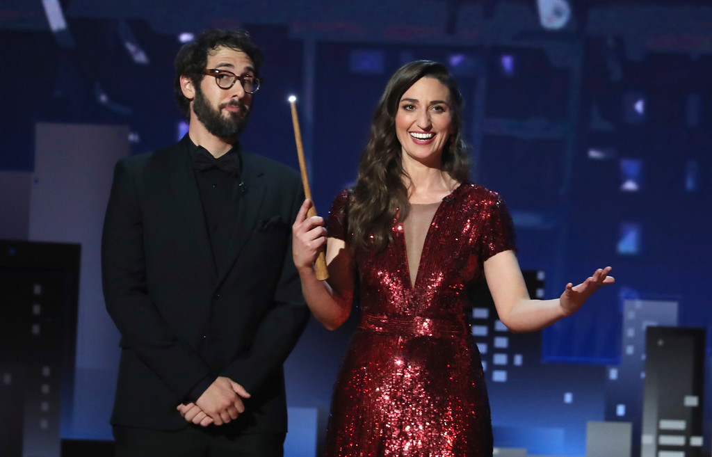 . Co-hosts Josh Groban, left, and Sara Bareilles appear on stage at the 72nd annual Tony Awards at Radio City Music Hall on Sunday, June 10, 2018, in New York. (Photo by Michael Zorn/Invision/AP)